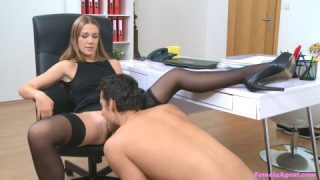Femaleagent stud cums in horny agents hot wet mouth